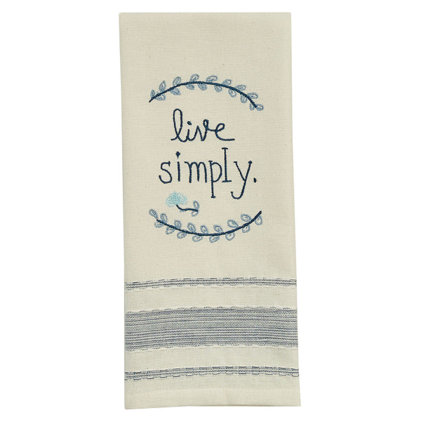 Live Simply Embroidered Dishtowel