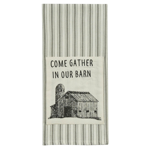 Come Gather Print & Embroidered Dishtowel