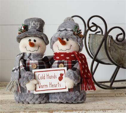 Cozy in Plaid - Snowmen - Cold Hands Warm Hearts