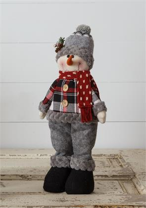 Cozy In Plaid - Snowman With Beanie - Standing