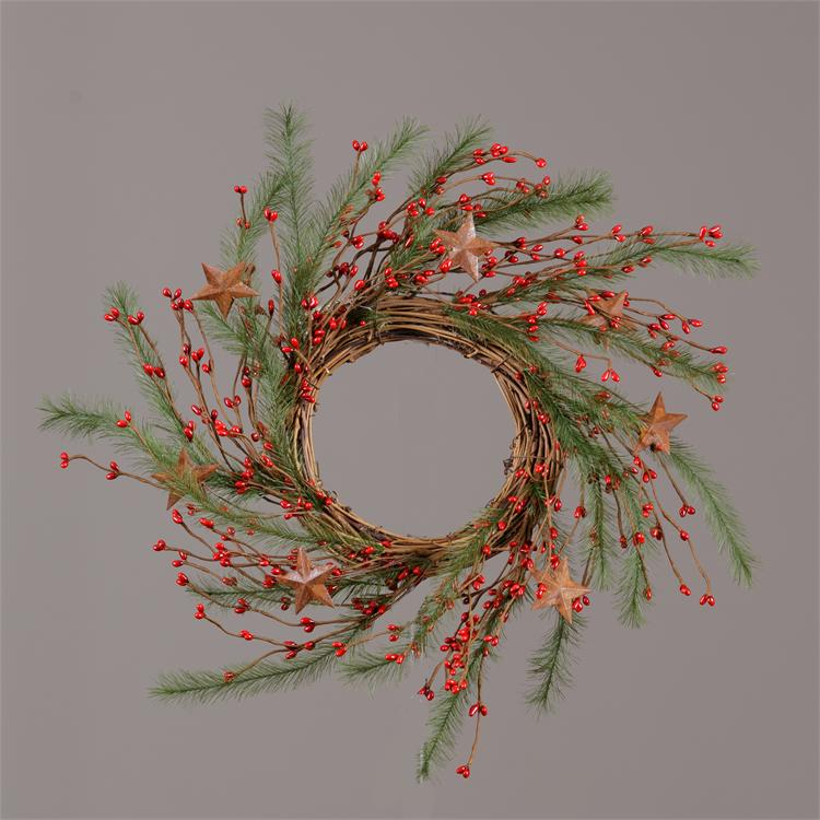 Wreath - Twig W/Red Berries, Stars & Feather Greens