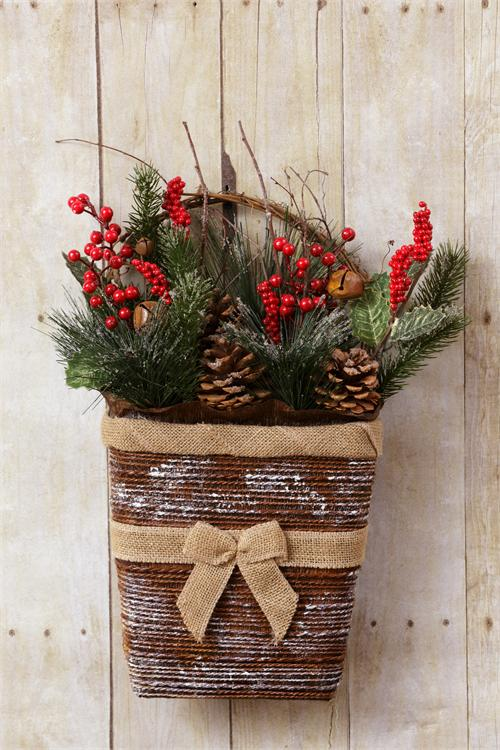 Basket Wall Decor Greens Pinecones Red Berries Rusty Bells