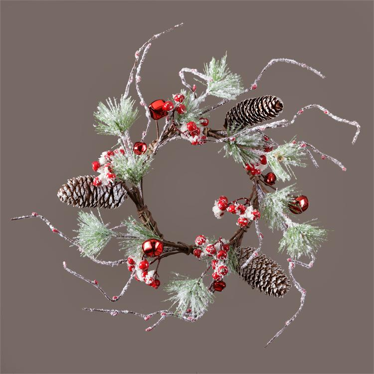Candle Ring - Snowy Red Jingle Bells