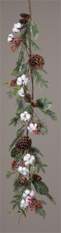 Garland - Cotton Pinecone Red Berries