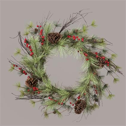 Wreath - Pinecones Red Berries