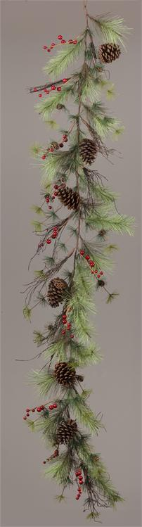 Garland - Pinecones Red Berries