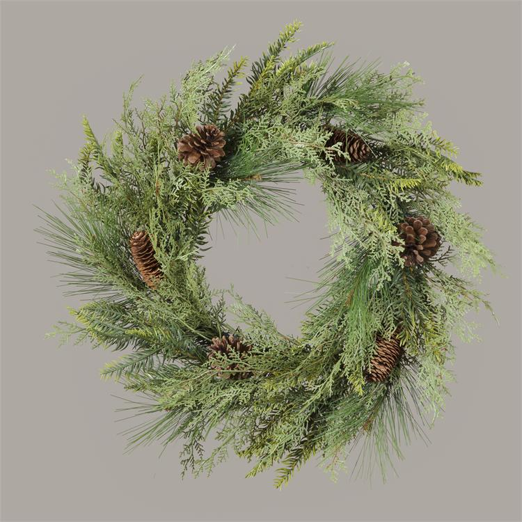 Wreath - Evergreen With Pinecones