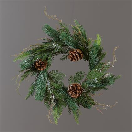 Wreath - Glittered Cedar Evergreens and Pinecones