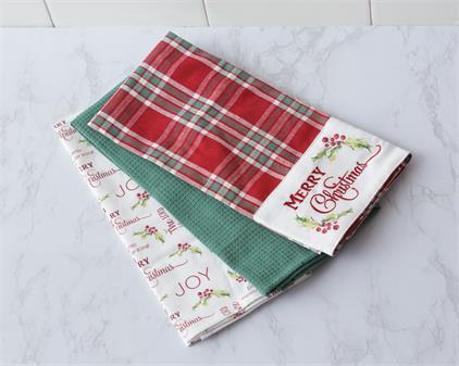 Tea Towels - Merry Christmas Plaid