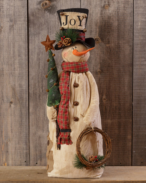 "Snowman with Tree, Wreath & ""JOY"" Top Hat"