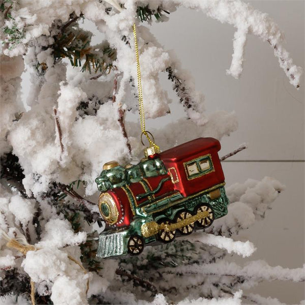 Ornament-Vintage Glass Steam Train