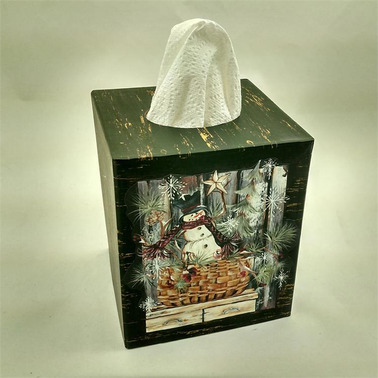 Tissue Box Cover - Snowman In A Basket