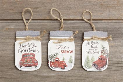 Ornaments - Mason Jar Shaped, Old Truck