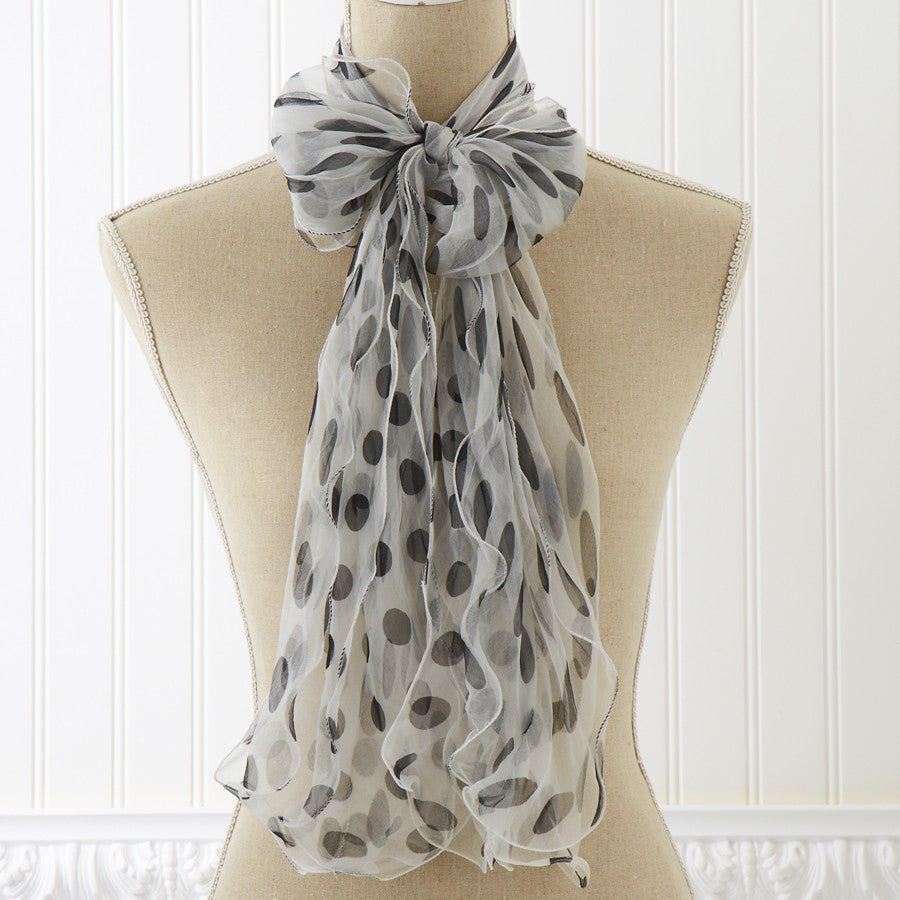 White and Black Sheer Dots Scarf