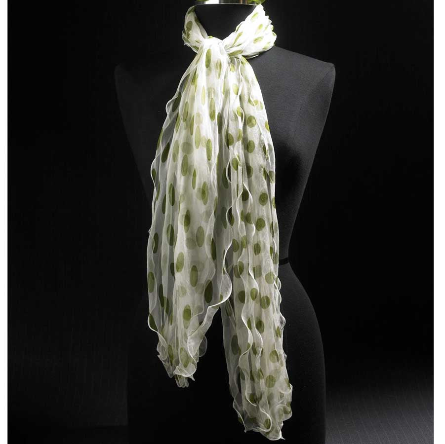 White and Lime Sheer Dots Scarf
