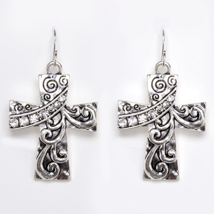 Antique Silver Cross Earrings with Crystals