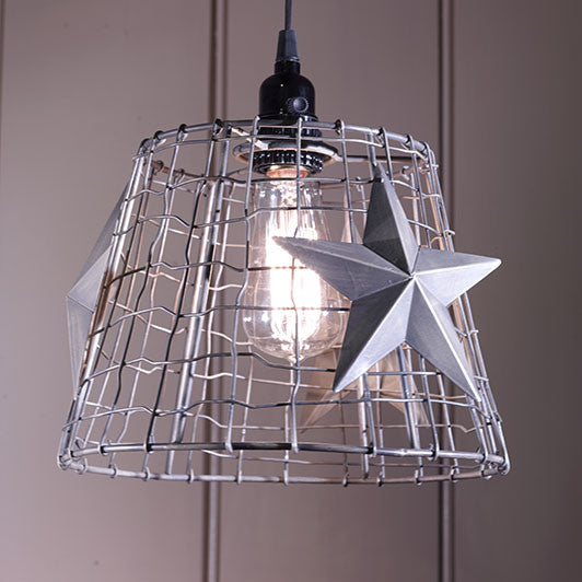 Vintage Star/Wire Basket Light
