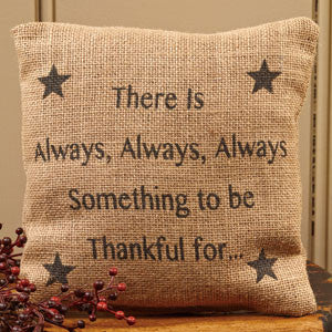 Small Burlap Thankful Pillow