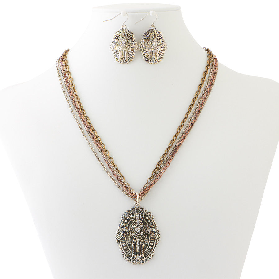 Tri-Tone Cross Necklace & Earrings Set