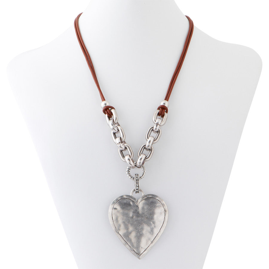 Leather & Silver Heart Necklace
