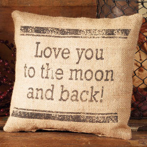 Small Burlap Love You Pillow