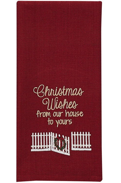 Christmas Wishes Embroidered Dishtowel