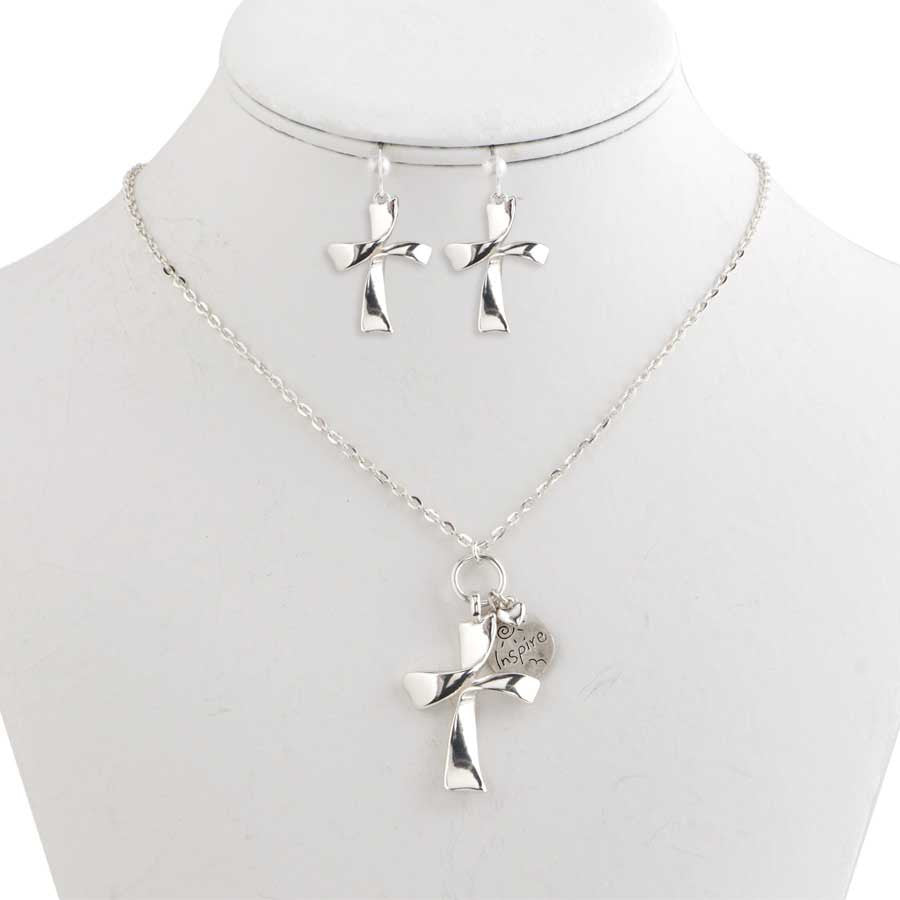 Silver Cross with Inspire and Heart Charm Necklace & Earrings Set