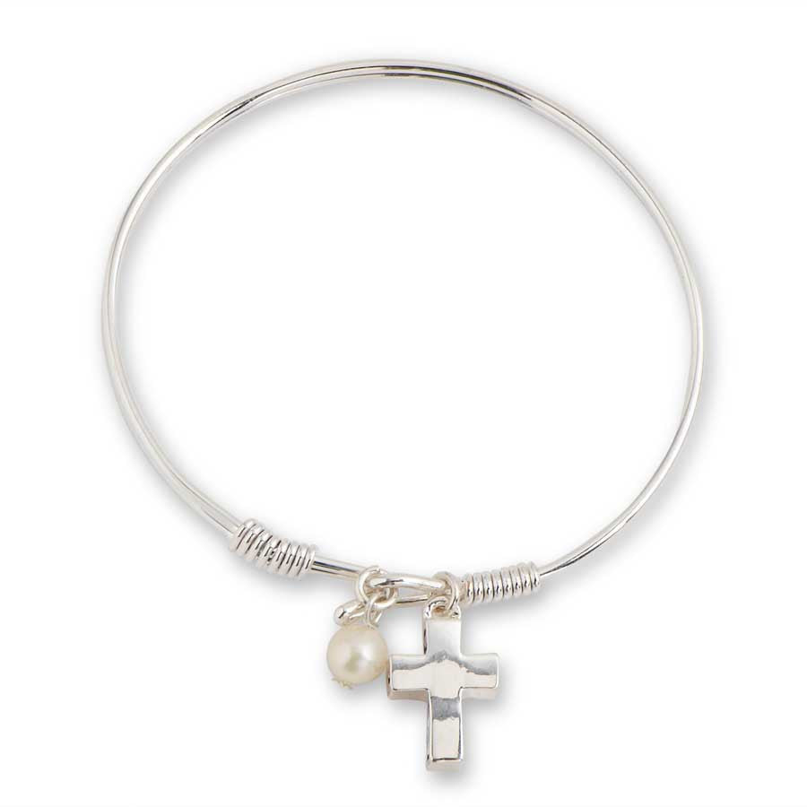 Silver Hook Bangle with Faith Cross and Pearl Charm Bracelet