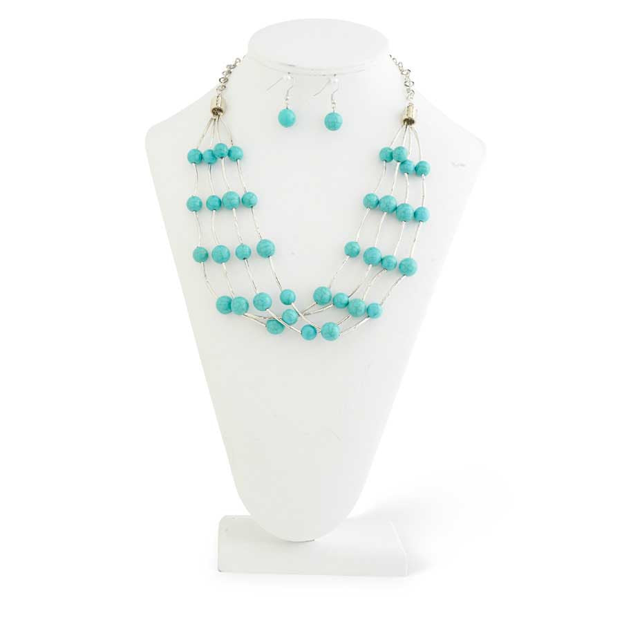 Four Strand Turquoise/Silver Necklace & Earrings Set