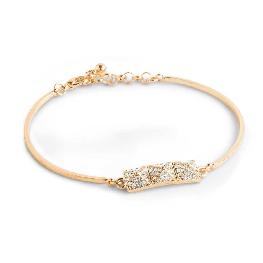 Pave Crystal Gold Bracelet w/Lobster Claw Closure