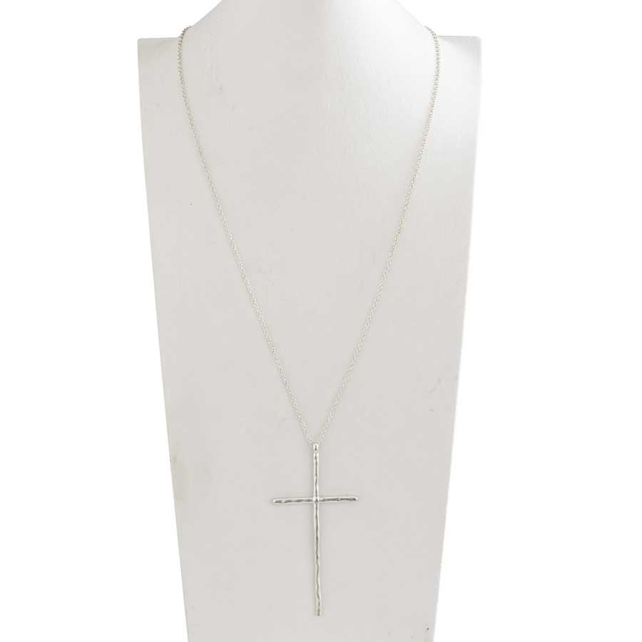 Matte Silver Elongated Cross on Long Chain