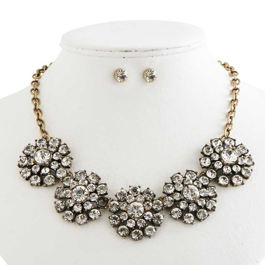 Antique Gold and Crystal Vintage Necklace & Earrings Set