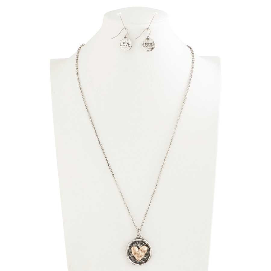 Antique Silver and Gold Wax Stamped Inspired Heart Necklace & Earrings Set