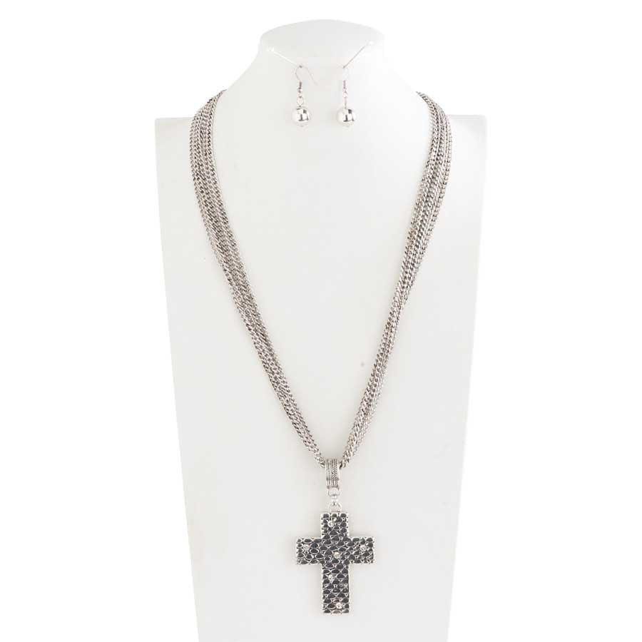 Multi Chain with Crystal Embedded Cross Necklace & Earrings Set