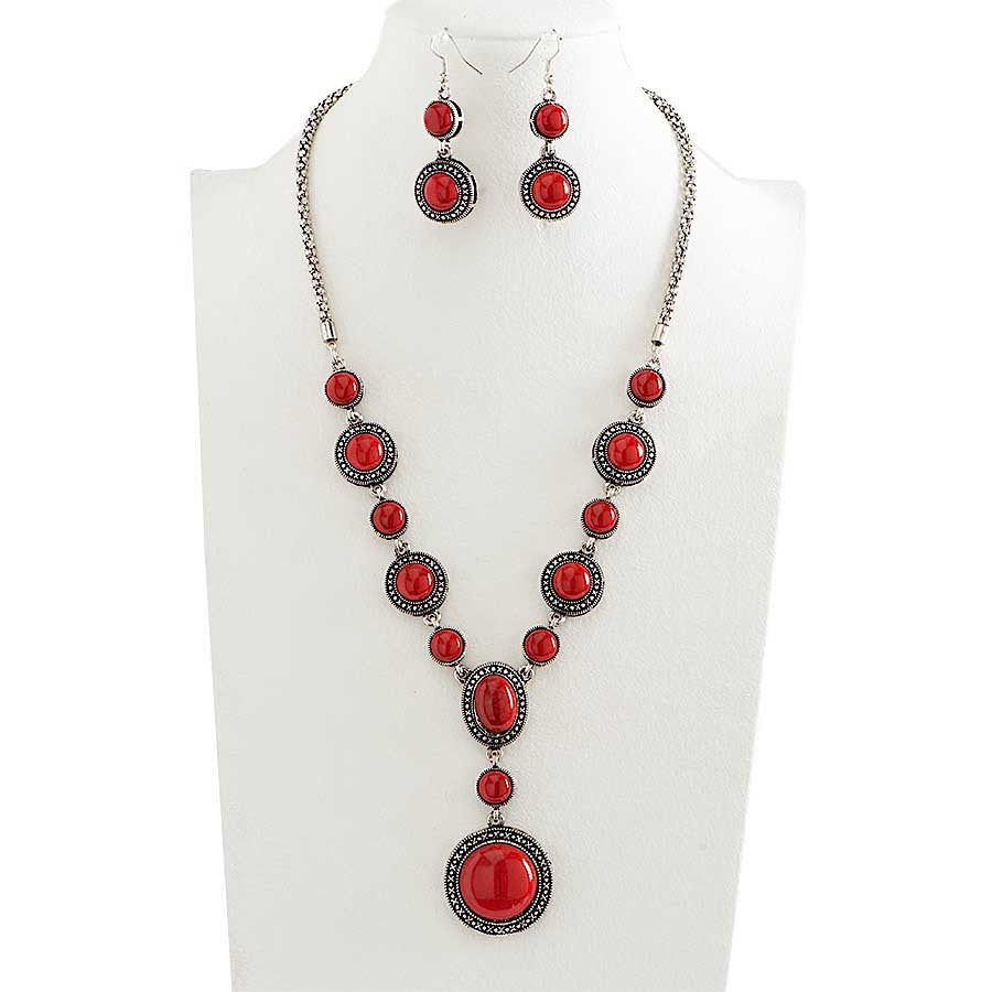 Antique Silver and Red Stone Necklace & Earrings Set