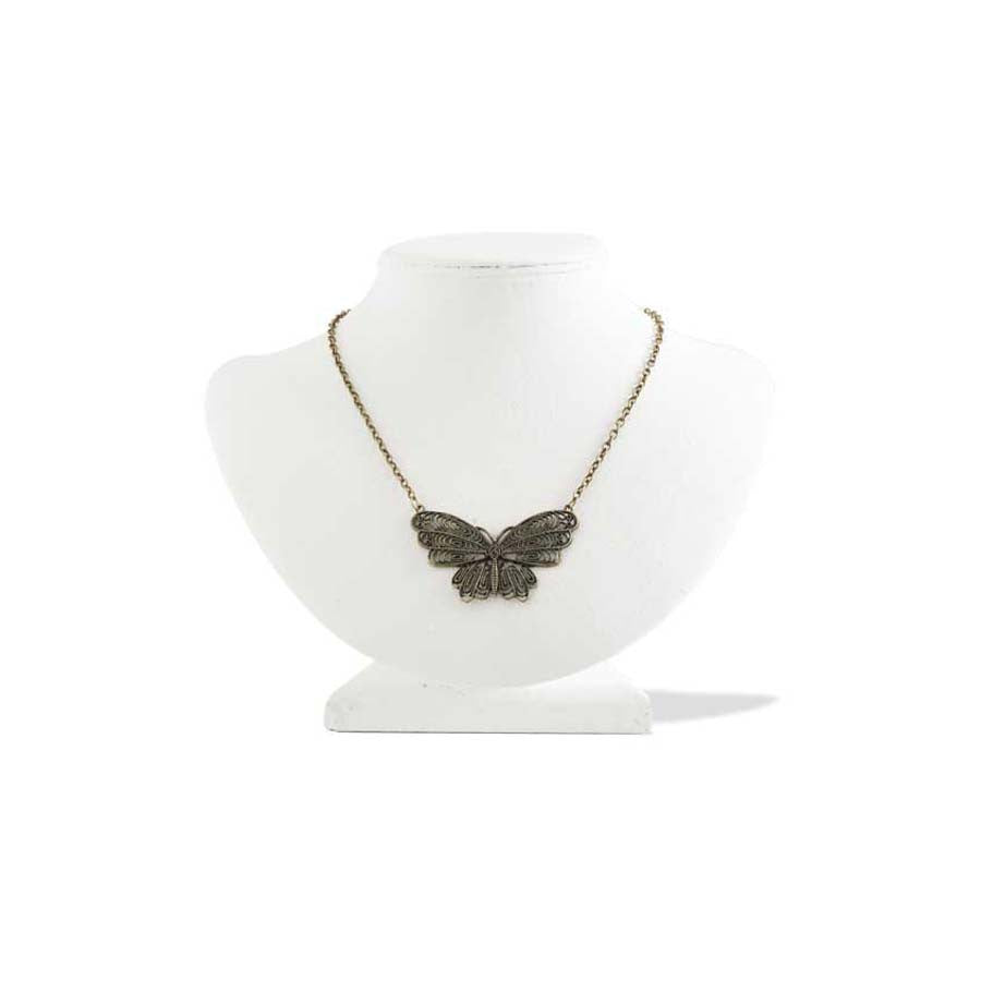 Antique Gold Vintage Fillgree Butterfly Necklace