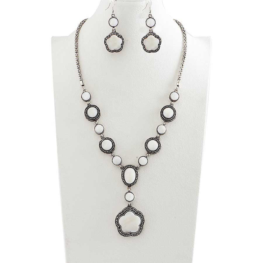 Antique Silver and White Mother of Pearl Necklace & Earrings Set