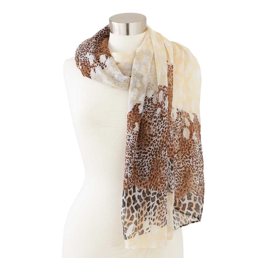Brown and Cream Animal Print Scarf