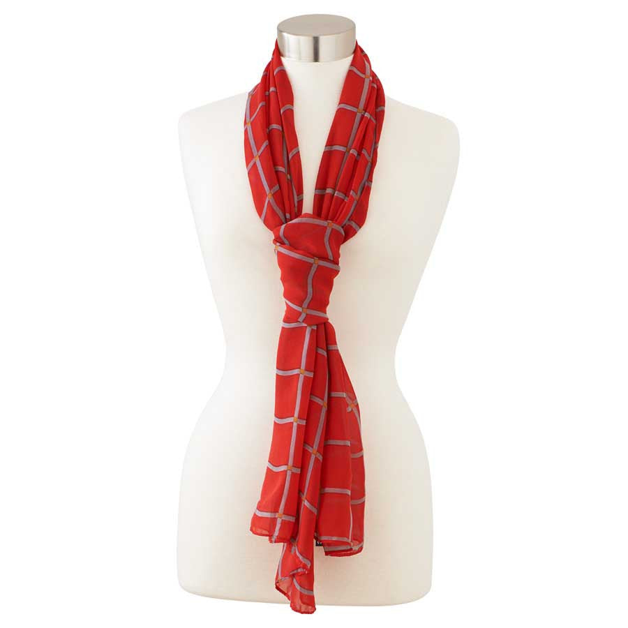 Red/Grey Window Pane Check Scarf