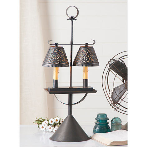Double Student Lamp with Willow Shades in Blackened Tin