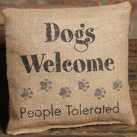 Small Burlap Dogs Welcome Pillow