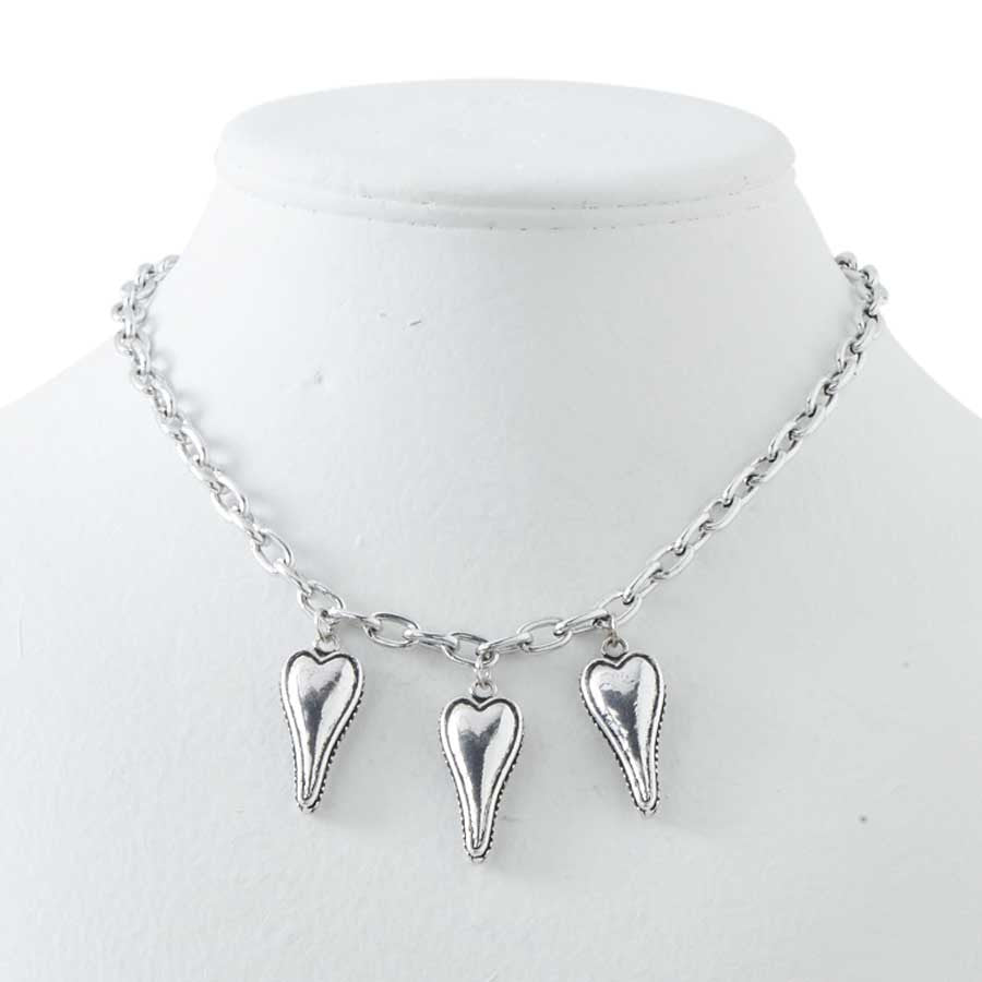 Antique Silver Three Hearts Necklace
