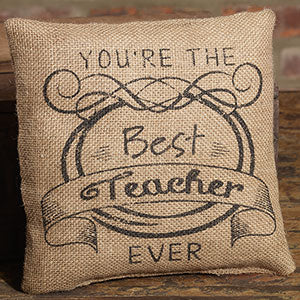 Small Burlap Teacher Pillow