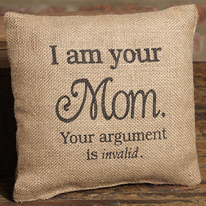 Small Burlap Mom Pillow