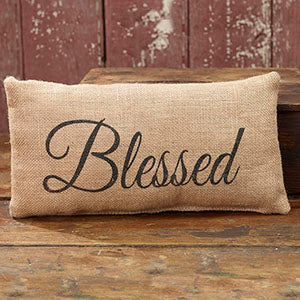 Small Burlap Blessed Pillow