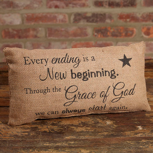 Small Burlap Beginning Pillow