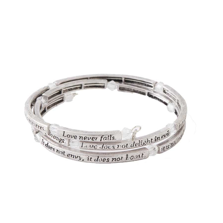 Silver/Crystal Love Is Memory Wire Bangle Bracelet