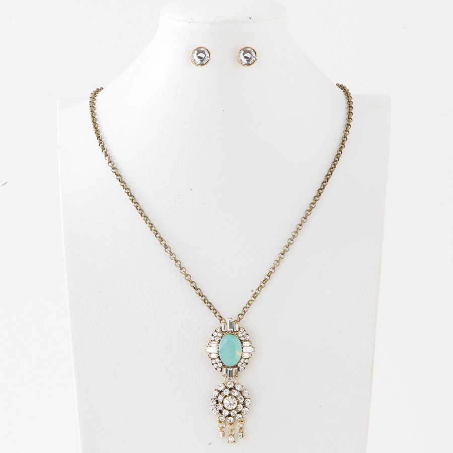 Antique gold with clear crystal opal green crystal pendant antique gold with clear crystal opal green crystal pendant necklace earrings set aloadofball Gallery