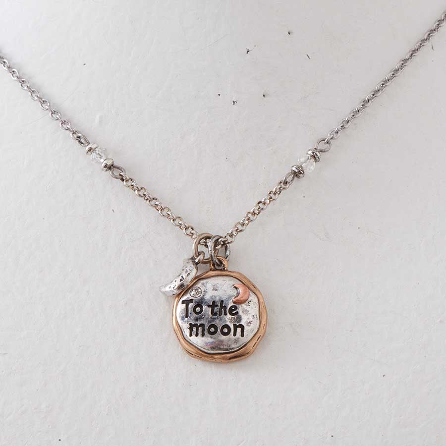 To The Moon and Back 2-Tone Necklace & Earrings Set