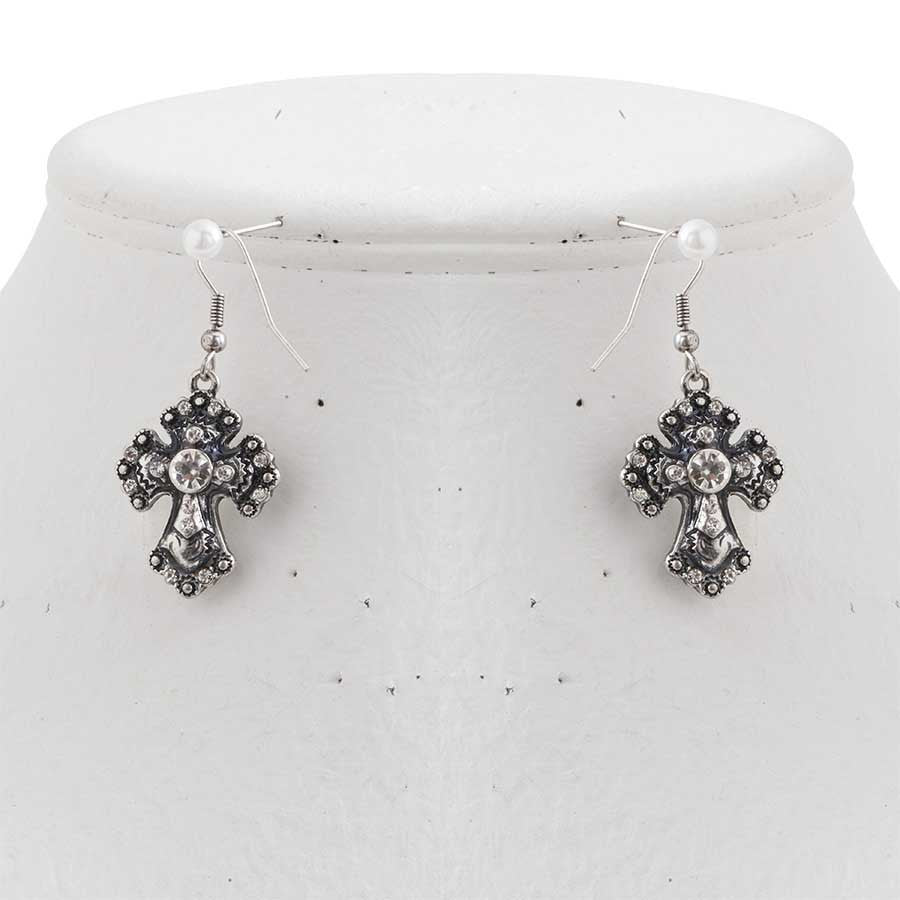Antique Silver Crystal Cross Earrings